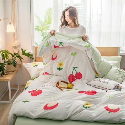 2020新款A类针织棉四件套 1.2m床单款三件套 荔枝派