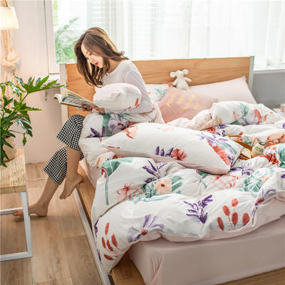 2020新款A类针织棉四件套 1.2m床单款三件套 盛夏漫舞
