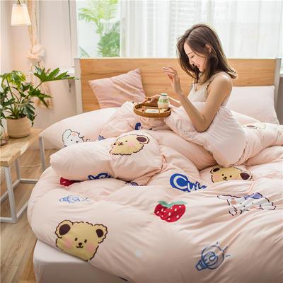 2020新款A类针织棉四件套 1.2m床单款三件套 甜梦熊
