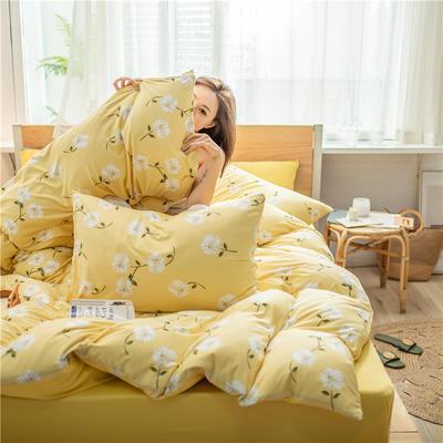 2020新款A类针织棉四件套 1.2m床单款三件套 夏之菊