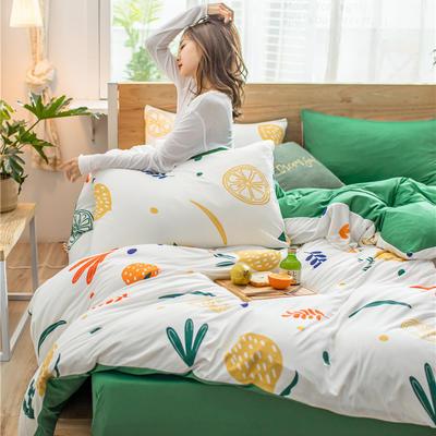 2020新款A类针织棉四件套 1.2m床单款三件套 香橙