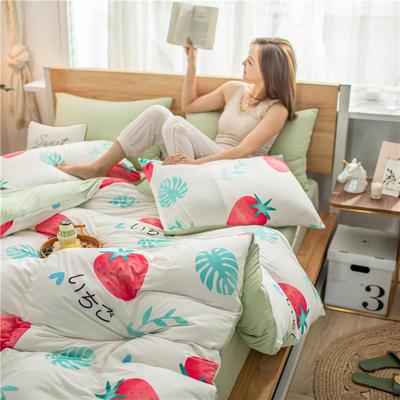 2020新款A类针织棉四件套 1.2m床单款三件套 叶绿甜梅