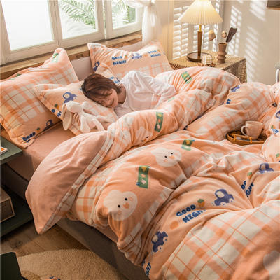 2020新款高克重牛奶绒圆网系列四件套 1.2m床单款三件套 晚安兔