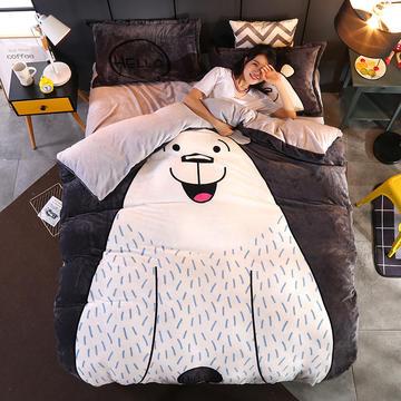 2018新款-大阪法莱绒四件套 1.2m(4英尺)床 大白熊