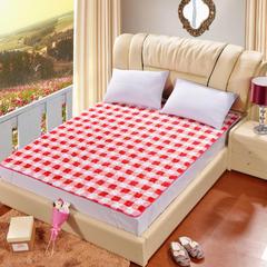 2018新款-法莱绒床褥床垫可机洗床护垫学生保暖床垫 0.9*2m 红白格