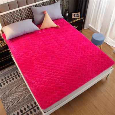 法萊絨床護墊可水洗床墊保暖薄床褥學生榻榻米墊子 0.6*2米 玫紅