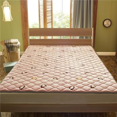 2019新款 牛奶绒床垫 防滑床褥可机洗褥子 冬季保暖床护垫爬爬垫 0.9*2米 豹纹印象-粉