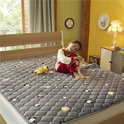2019新款 牛奶绒床垫 防滑床褥可机洗褥子 冬季保暖床护垫爬爬垫 0.9*2米 豹纹印象-灰