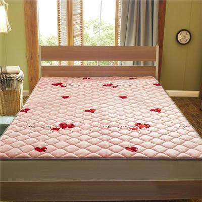2019新款 牛奶绒床垫 防滑床褥可机洗褥子 冬季保暖床护垫爬爬垫 0.9*2米 小甜蜜-粉