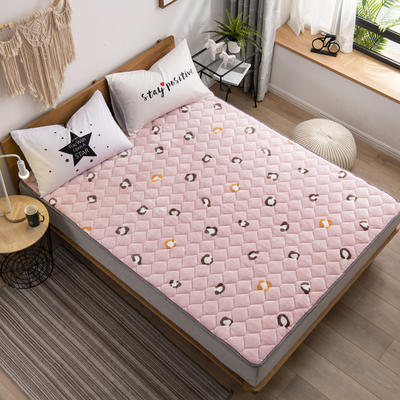 2019新款 牛奶絨床墊 防滑床褥可機洗褥子 冬季保暖床護墊爬爬墊 0.9*2米 豹紋印象-粉