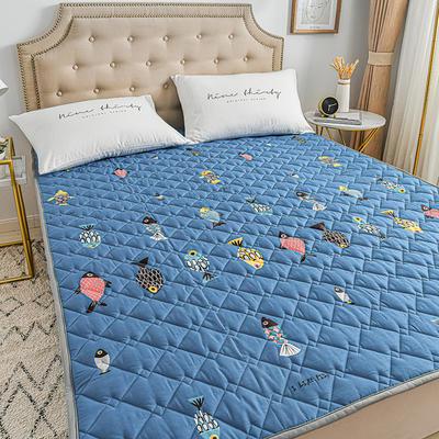 2020新品 全棉可机洗床垫 榻榻米防滑床褥子四季床护垫 薄垫被 0.9*2m 鱼来鱼往