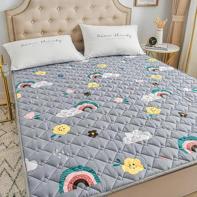 2020新品 全棉可机洗床垫 榻榻米防滑床褥子四季床护垫 薄垫被 0.9*2m 雨后彩虹