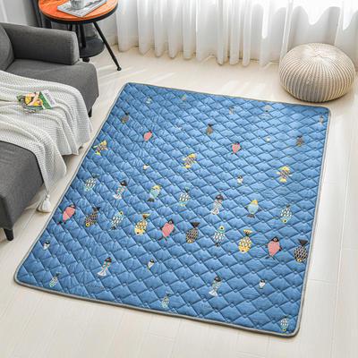 全棉防滑爬爬垫 宝宝爬行垫 加厚地垫客厅地毯可机洗 90*200cm 鱼来鱼往