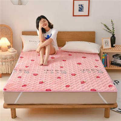 2020新款梅花法莱绒床褥床垫 0.9*2.0m 草莓