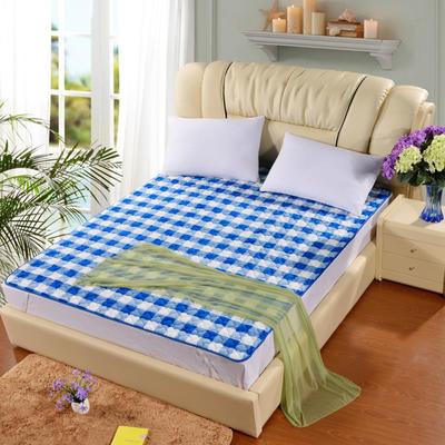 2020新款梅花法莱绒床褥床垫 1.0*2.0m 蓝白格