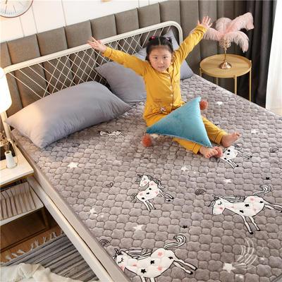 2020新款梅花法莱绒床褥床垫 1.0*2.0m 小马-灰