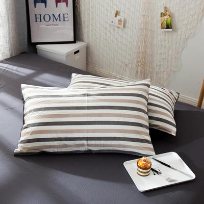 新品-水洗棉AB版单枕套 48cmX74cm 布鲁斯-灰咖