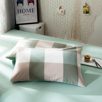 新品-水洗棉AB版单枕套 48cmX74cm 绿大格
