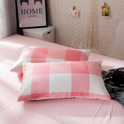 新品-水洗棉AB版单枕套 48cmX74cm 粉大格