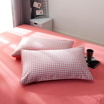 新品-水洗棉AB版单枕套 48cmX74cm 粉小格