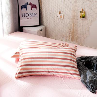 新品-水洗棉AB版单枕套 48cmX74cm 布鲁斯-红咖