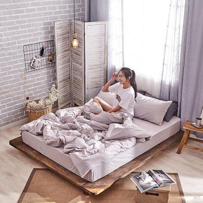 新品-全棉水洗棉纯色单被套 150*200cm 浅灰
