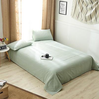 新品-全棉水洗棉纯色单床单 120*230cm 绿色