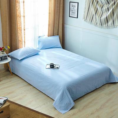新品-全棉水洗棉纯色单床单 120*230cm 蓝色