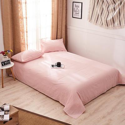 新品-全棉水洗棉纯色单床单 120*230cm 浅粉