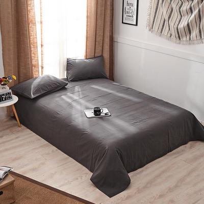 新品-全棉水洗棉纯色单床单 120*230cm 深灰
