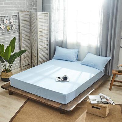新品-全棉水洗棉纯色单床笠 120*200cm 蓝色