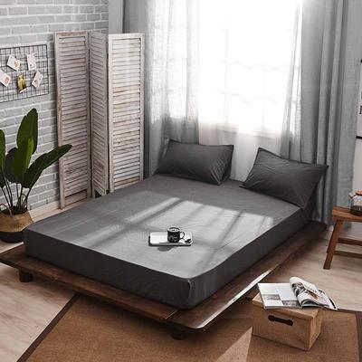 新品-全棉水洗棉纯色单床笠 120*200cm 深灰