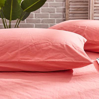 新品-全棉水洗棉纯色单枕套一对 48cmX74cm 紫红