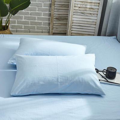 新品-全棉水洗棉纯色单枕套一对 48cmX74cm 蓝色