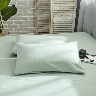 新品-全棉水洗棉纯色单枕套一对 48cmX74cm 绿色