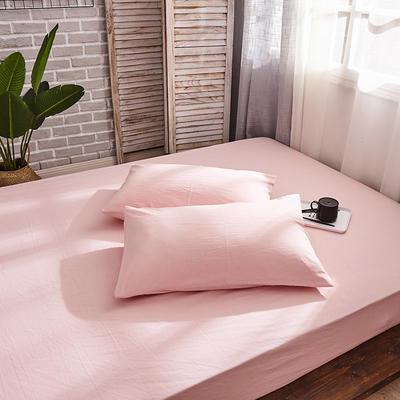 新品-全棉水洗棉纯色单枕套一对 48cmX74cm 浅粉