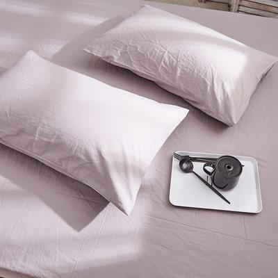 新品-全棉水洗棉純色單枕套一對 48cmX74cm 淺灰