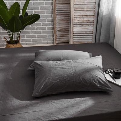 新品-全棉水洗棉純色單枕套一對 48cmX74cm 深灰