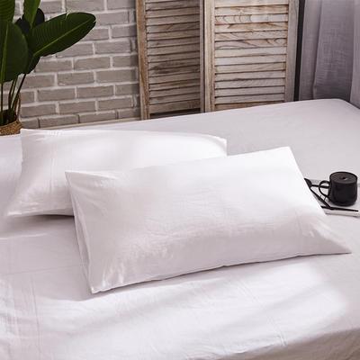 新品-全棉水洗棉純色單枕套一對 48cmX74cm 白色