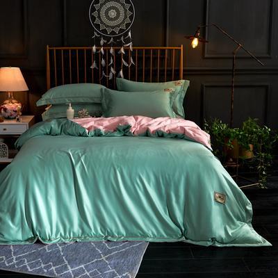 新品 A版水洗真丝 B版全棉水洗棉四件套 1.5m(5英尺)床 果绿色