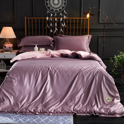 新品 A版水洗真丝 B版全棉水洗棉四件套 1.5m(5英尺)床 香芋紫