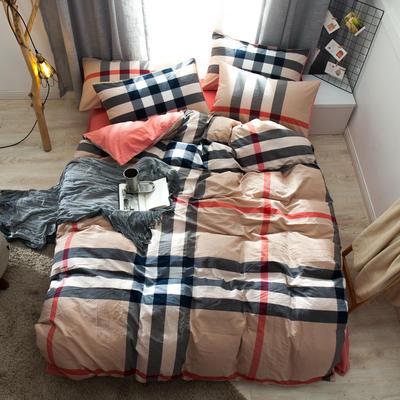2019新款全棉水洗棉AB版四件套 1.2m床單款三件套 紅咖大格