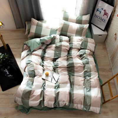 2019新款全棉水洗棉AB版四件套 1.2m床單款三件套 綠大格