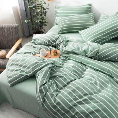 2020新款全棉色织水洗棉三四件套 1.2m床单款三件套 绿宽条