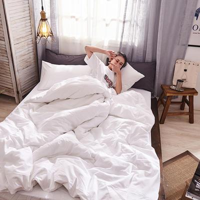 2019新款全棉水洗棉AB版四件套 1.2m床單款三件套 白色