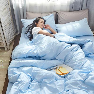 2019新款全棉水洗棉AB版四件套 1.2m床單款三件套 藍色