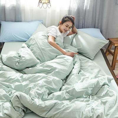 2019新款全棉水洗棉AB版四件套 1.2m床單款三件套 綠色