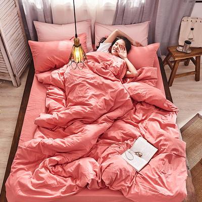 2019新款全棉水洗棉AB版四件套 1.2m床单款三件套 紫红