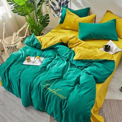 2020新款全棉水洗棉绣花四件套 1.2m床单款三件套 翠绿姜黄