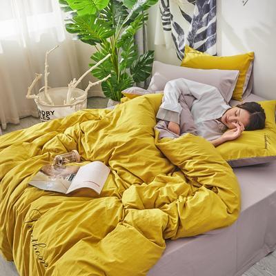 2020新款全棉水洗棉繡花四件套 1.2m床單款三件套 姜黃淺灰